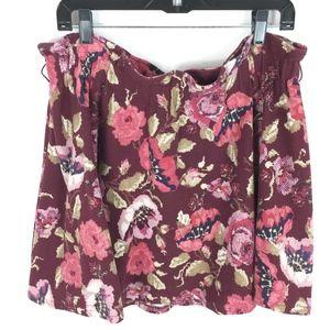 LC Lauren Conrad Skirt XL Pink Floral Paper Bag